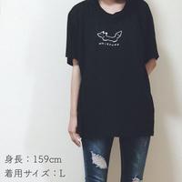 ゆるっとおきつねTシャツ黒