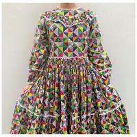 【レディース】1970s コットン総柄プリントドレス