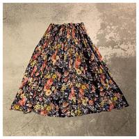 【レディース】1980s インド綿花柄シアースカート インド製
