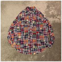 """1990s """"Ralph Lauren TILDEN""""コットンパッチワークBDシャツ"""