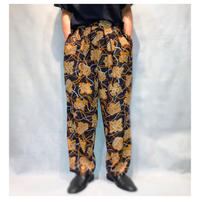 1990s レーヨン4タック総柄パンツ