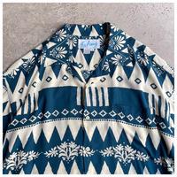 1990s レーヨン総柄オープンカラーシャツ