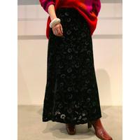 90年代 ベロア花柄マキシスカート