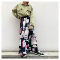 【レディース】1980s レーヨン総柄マキシ丈スカート オーストラリア製