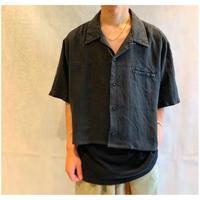1990s リネンショート丈オープンカラーシャツ