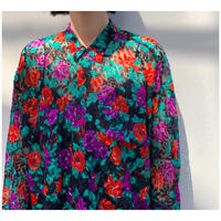 1980s シアー花柄シャツ イタリア製