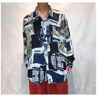 1990s オーバーサイズレーヨン総柄シャツ