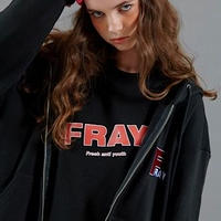 【FRAY】F LOGO HOOD ZIPUP - BLACK