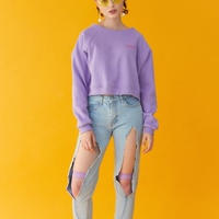 【Fray】logo crop CREWNECK SWEATER PURPLE