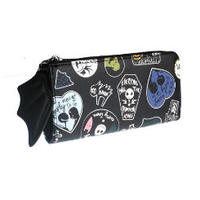 海外ブランド 人気 ジャック 財布 1Color  レディース 可愛い 安い 上品 キレイ レザー ゴスロリ パンク ハート 蝙蝠 羽 ディズニー 黒 ハロウィン ナイトメア  W227