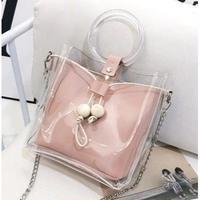 海外ブランド クリアリングバック 人気 ピンク シルバー チェーン レディース レザー  可愛い 海外輸入品