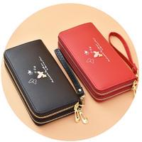 海外ブランド 人気 長財布 6Color 蝶 大容量 レディース 可愛い 安い 上品 キレイ レザー カジュアル コーデ ストリート ダブルファスナー ラウンドファスナー 赤 ピンク 黒 紫 W269