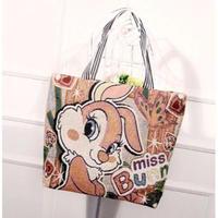 8Color 海外ブランド 人気 レトロ トートバック ショッピングバック ポケット キャンバス ぷーさん キティ ミッキー ドラえもん
