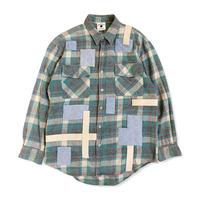 remake patchwork shirt (green)
