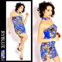 【LuxuryRose】全3色 チョーカー付♪ スリット花柄 ベアミニチャイナドレス チャイナ キャバ