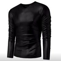 【INCERUN】メンズ メタリック ロングスリーブ Tシャツ