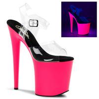 【お取り寄せ】【Pleaser】FLAMINGO-808UV Clr/Neon Pink, ブラックライト対応!プリーザ 厚底 ヒール サンダル キャバ