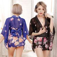 【LuxuryRose】2色あり!シースルー ミニ丈 セクシー着物ドレス