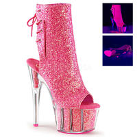 【お取り寄せ】【Pleaser】ADORE-1018G Neon Pink Glitter/Neon Pink Glitter, ブラックライト対応!プリーザ 厚底 ヒール サンダル キャバ