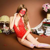 【LuxuryRose】アイマスク付き  花柄レーステディ レッド
