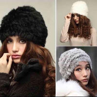 【LuxuryRose】リアルラビットファー ニット帽