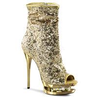 【お取り寄せ】【Pleaser】BLONDIE-R-1008 Gold Sequins/Gold Chromeヒールのストーンがキラリと輝く!プリーザ 厚底 ヒール サンダル キャバ