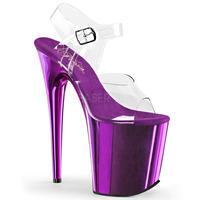 【即納】【Pleaser】20㎝ヒール❗️FLAMINGO-808  Clr/Purple Chrome 衣装に合わせやすいメタリック!プリーザ 厚底 ヒール サンダル キャバ