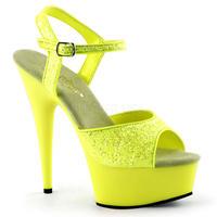 【お取り寄せ】【Pleaser】DELIGHT-609UVG  Neon Yellow Gltr/Yellow ブラックライト対応!プリーザ 厚底 ヒール サンダル キャバ