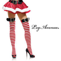 【LegAvenue】ベルトがポイント★ボーダーサイハイタイツ サンタ クリスマス