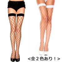 【MUSIC LEGS】全2色! ビッグダイアモンドネット スパンデクス タイハイストッキング