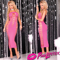 【PINKLIPSTICK】ピンク スペンダー シースルー チューブ ロング ドレス