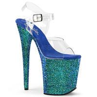 即納❗️【Pleaser】20㎝ヒール❗️FLAMINGO-808LG プリーザー フラミンゴグリッター  Clr/Blue Multi Glitter