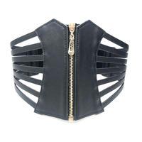【LuxuryRose】 フロントジップ デザイン コルセットベルト 黒