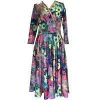 USA Long sleeve Dress フラワープリントフレアーワンピース