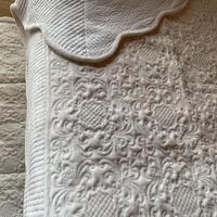 ホワイトフランネルマルチキルトカバー200x200cmセミダブルサイズ