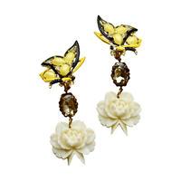 Yellow Butterfly & White Rose Earrings