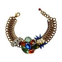 Bohemian Glass & Chain Maille Bracelet | Green