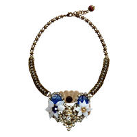 2 White Flowers Statement Necklace