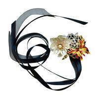 White Flower & Enamel Butterfly Ribbon Brooch
