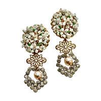 White Flower Dome & Baroque Pearl Earrings
