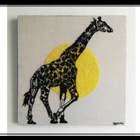 【手刺繍】キリンと黄色のあいだ