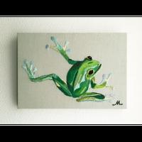 【手刺繍】冬の蛙