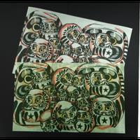 【ロウ引き紙ブックカバー】だるまB_文庫・新書サイズ対応