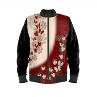 Japanese traditional Butterfly emblem art Ladies Bomber Jacket