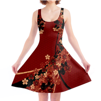 Flower and Butterfly Red Skater Dress