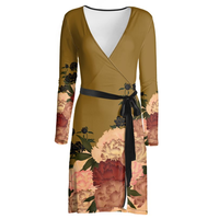 Peony decoration Wrap Dress