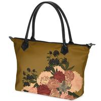 Japanese style Peony design Zip Top Handbag