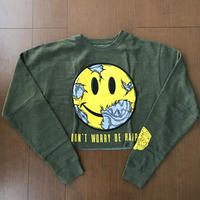 "FMHI  ""DON'T WORRY"" Ladies Crop top Crew Neck"