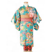 夏きもの(浴衣)水色花 サイズ90