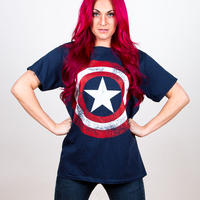 マーベルコミック (MARVEL COMICS) メンズTシャツ (MEN'S TEE): CAPTAIN AMERICA DISTRESSED